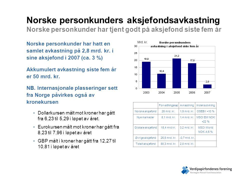 Norske personkunders aksjefondsavkastning Norske personkunder har tjent godt på aksjefond siste fem år Norske personkunder har hatt en samlet avkastning på 2,8 mrd.