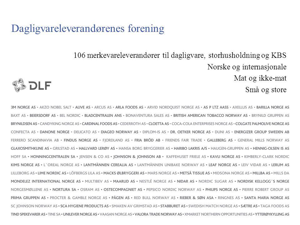 Dagligvareleverandørenes forening 106 merkevareleverandører til dagligvare, storhusholdning og KBS Norske og internasjonale Mat og ikke-mat Små og sto
