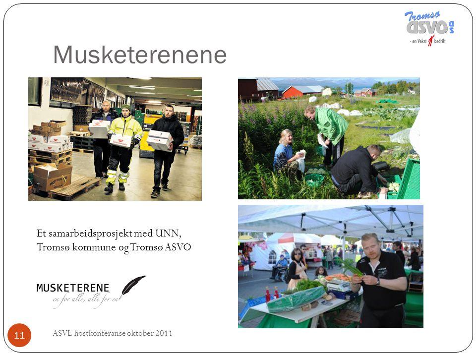Musketerenene ASVL høstkonferanse oktober 2011 11 Et samarbeidsprosjekt med UNN, Tromsø kommune og Tromsø ASVO