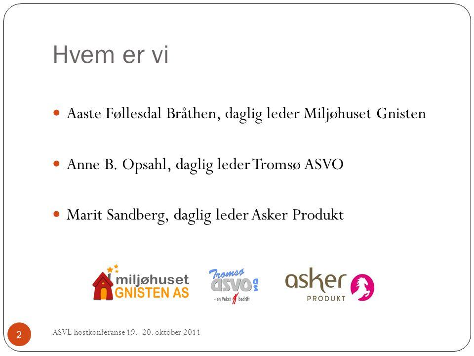 Hvem er vi ASVL høstkonferanse 19. -20. oktober 2011 2 Aaste Føllesdal Bråthen, daglig leder Miljøhuset Gnisten Anne B. Opsahl, daglig leder Tromsø AS