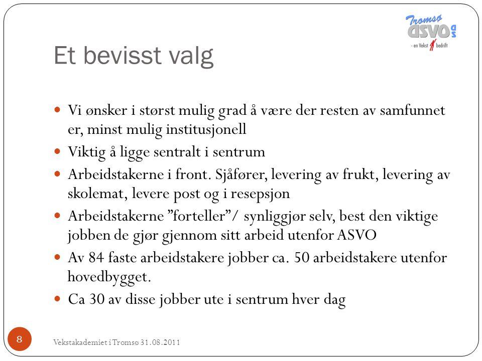 Et bevisst valg Vekstakademiet i Tromsø 31.08.2011 8 Vi ønsker i størst mulig grad å være der resten av samfunnet er, minst mulig institusjonell Vikti