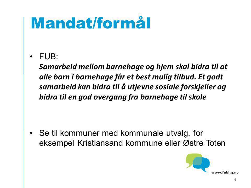 Mandat/formål FUB: Samarbeid mellom barnehage og hjem skal bidra til at alle barn i barnehage får et best mulig tilbud.