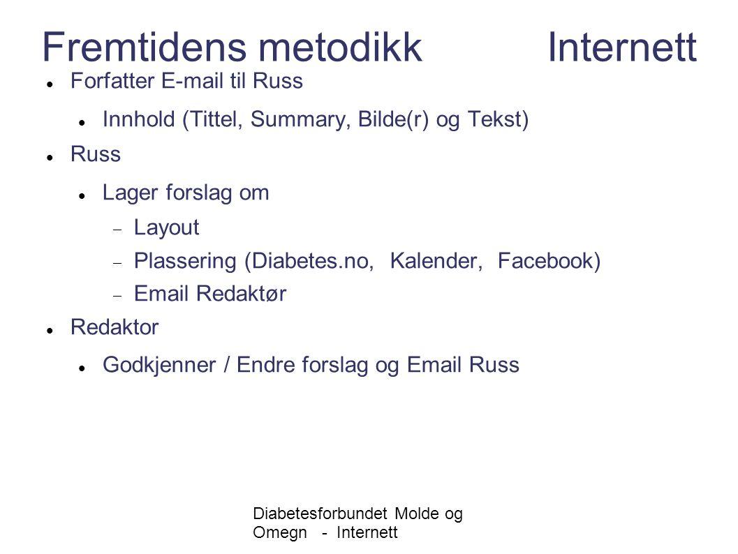 Diabetesforbundet Molde og Omegn - Internett Fremtidens metodikk Internett Forfatter E-mail til Russ Innhold (Tittel, Summary, Bilde(r) og Tekst) Russ