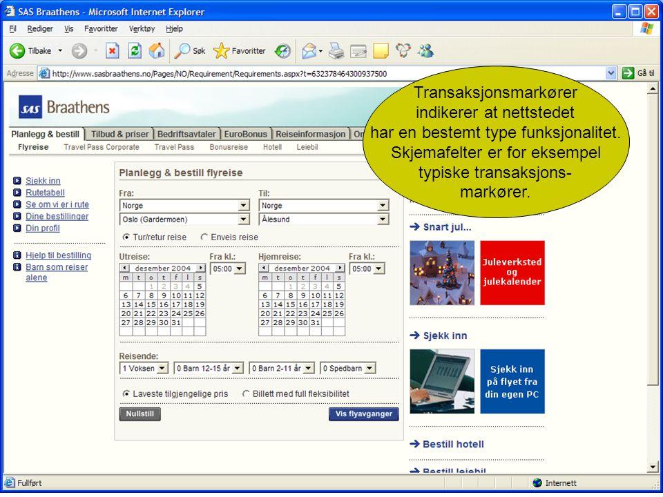 Transaksjonsmarkører indikerer at nettstedet har en bestemt type funksjonalitet.