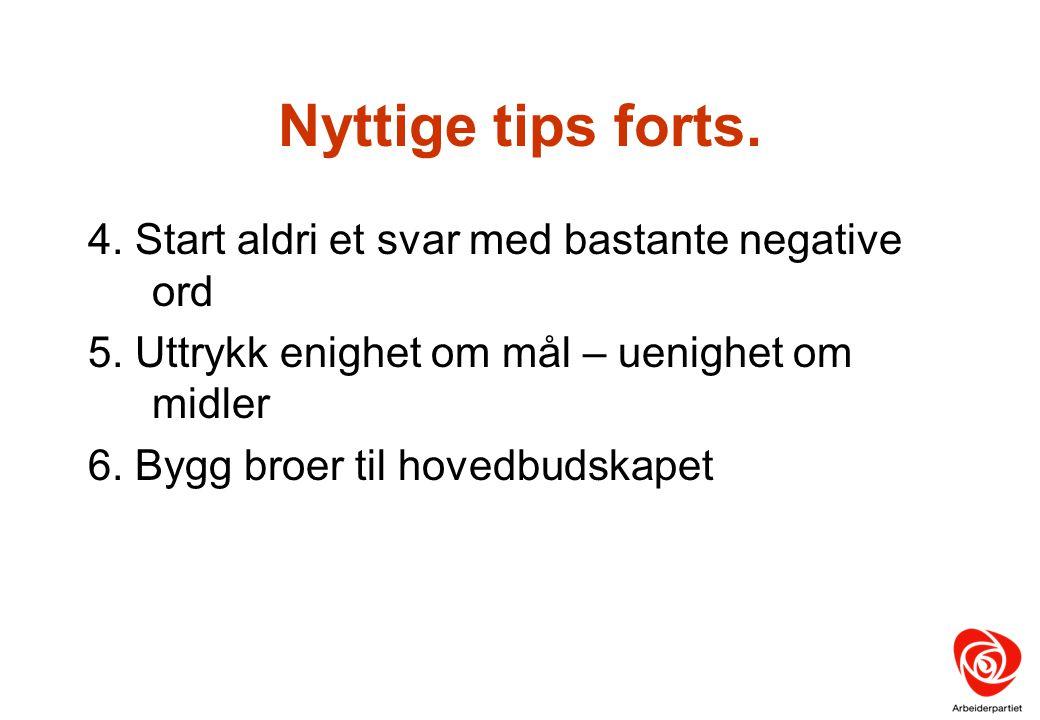 Nyttige tips forts. 4. Start aldri et svar med bastante negative ord 5. Uttrykk enighet om mål – uenighet om midler 6. Bygg broer til hovedbudskapet
