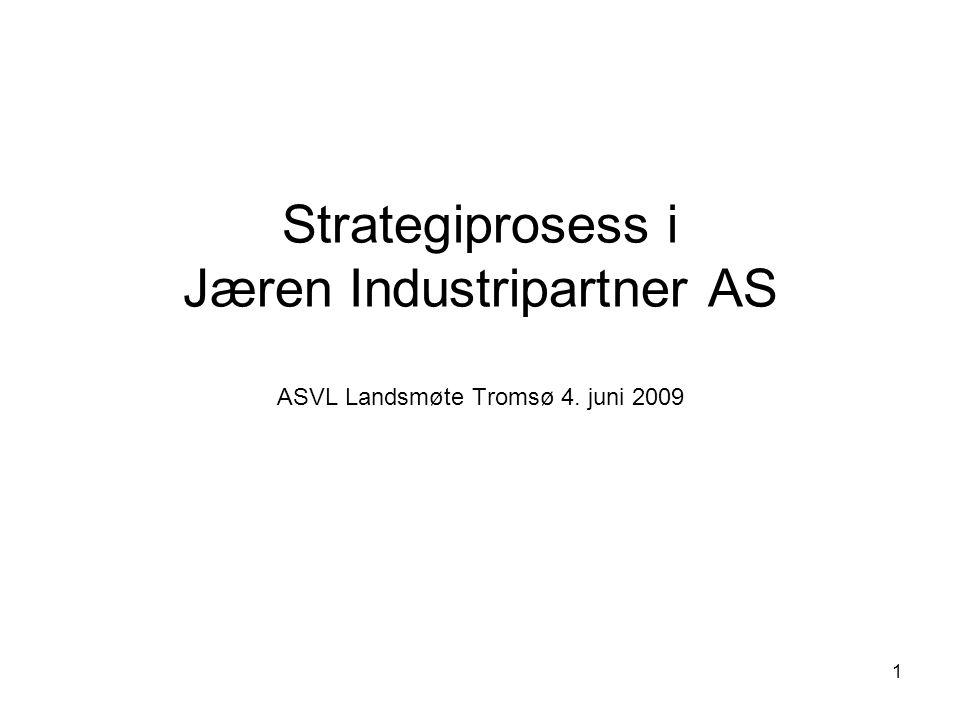 1 Strategiprosess i Jæren Industripartner AS ASVL Landsmøte Tromsø 4. juni 2009