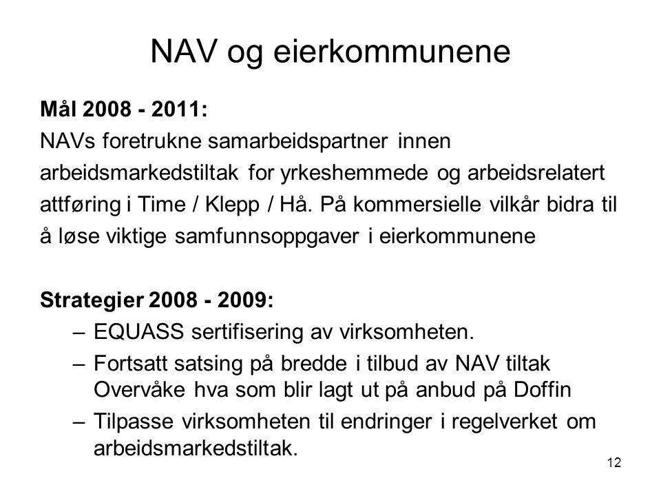 12 NAV og eierkommunene Mål 2008 - 2011: NAVs foretrukne samarbeidspartner innen arbeidsmarkedstiltak for yrkeshemmede og arbeidsrelatert attføring i