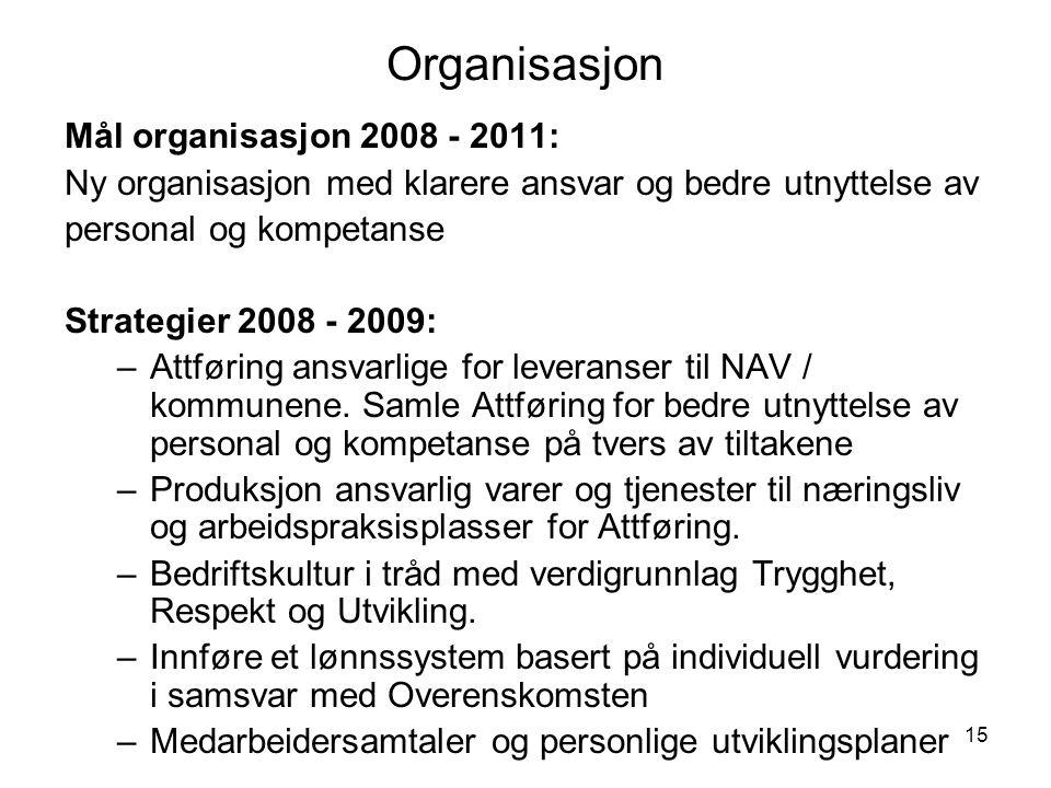 15 Organisasjon Mål organisasjon 2008 - 2011: Ny organisasjon med klarere ansvar og bedre utnyttelse av personal og kompetanse Strategier 2008 - 2009: