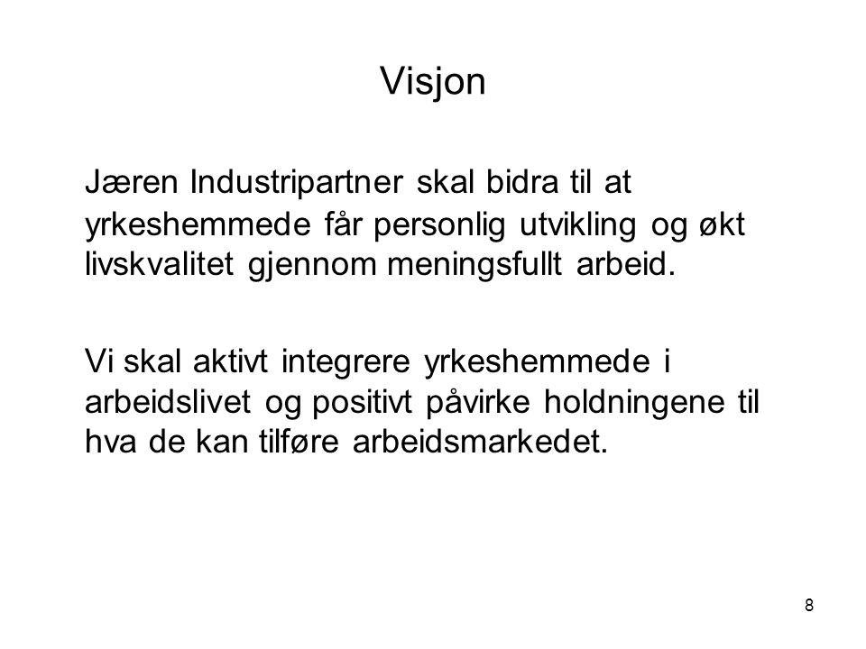 8 Visjon Jæren Industripartner skal bidra til at yrkeshemmede får personlig utvikling og økt livskvalitet gjennom meningsfullt arbeid. Vi skal aktivt