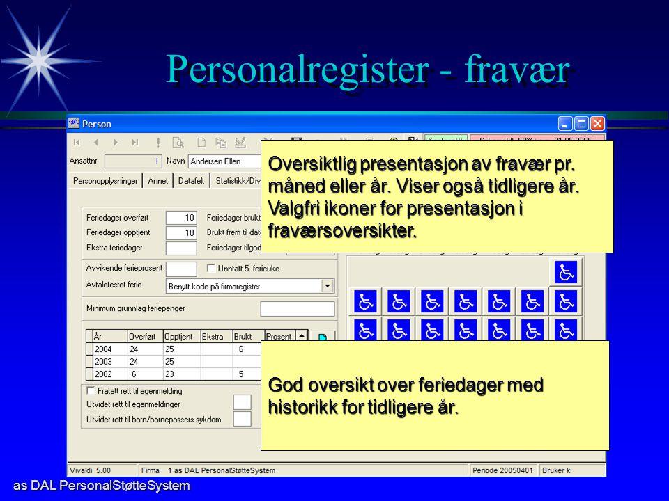 as DAL PersonalStøtteSystem Personalregister - fravær Oversiktlig presentasjon av fravær pr. måned eller år. Viser også tidligere år. Valgfri ikoner f