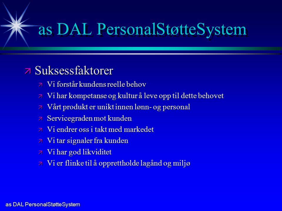 as DAL PersonalStøtteSystem ä Suksessfaktorer ä Vi forstår kundens reelle behov ä Vi har kompetanse og kultur å leve opp til dette behovet ä Vårt prod
