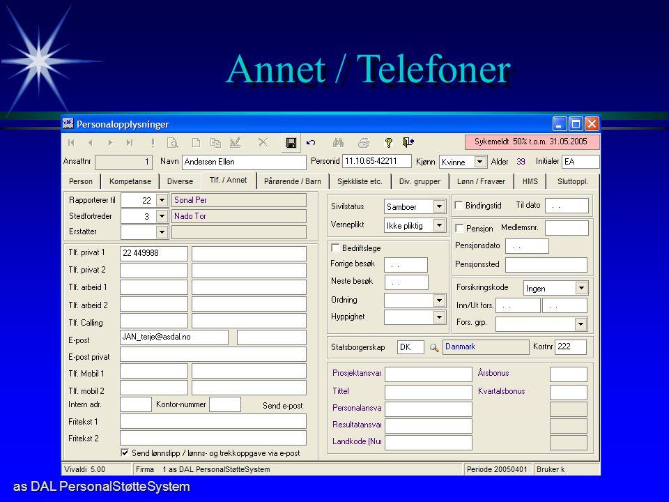 as DAL PersonalStøtteSystem Annet / Telefoner