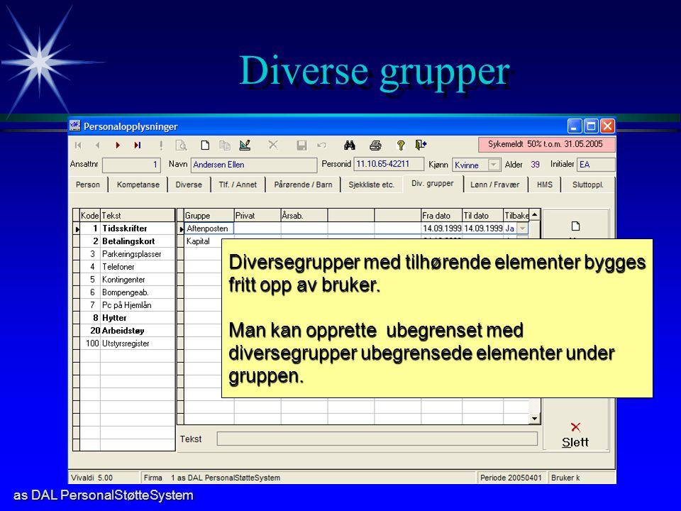 as DAL PersonalStøtteSystem Diverse grupper Diversegrupper med tilhørende elementer bygges fritt opp av bruker. Man kan opprette ubegrenset med divers