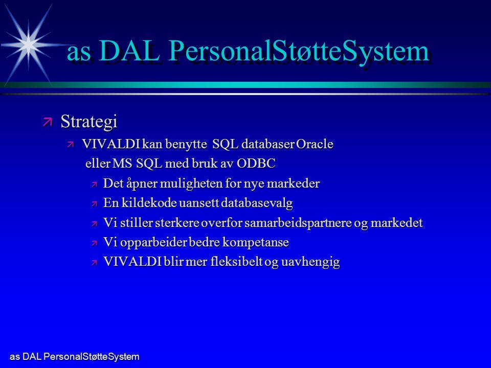 as DAL PersonalStøtteSystem ä Strategi ä VIVALDI kan benytte SQL databaser Oracle eller MS SQL med bruk av ODBC eller MS SQL med bruk av ODBC ä Det åpner muligheten for nye markeder ä En kildekode uansett databasevalg ä Vi stiller sterkere overfor samarbeidspartnere og markedet ä Vi opparbeider bedre kompetanse ä VIVALDI blir mer fleksibelt og uavhengig