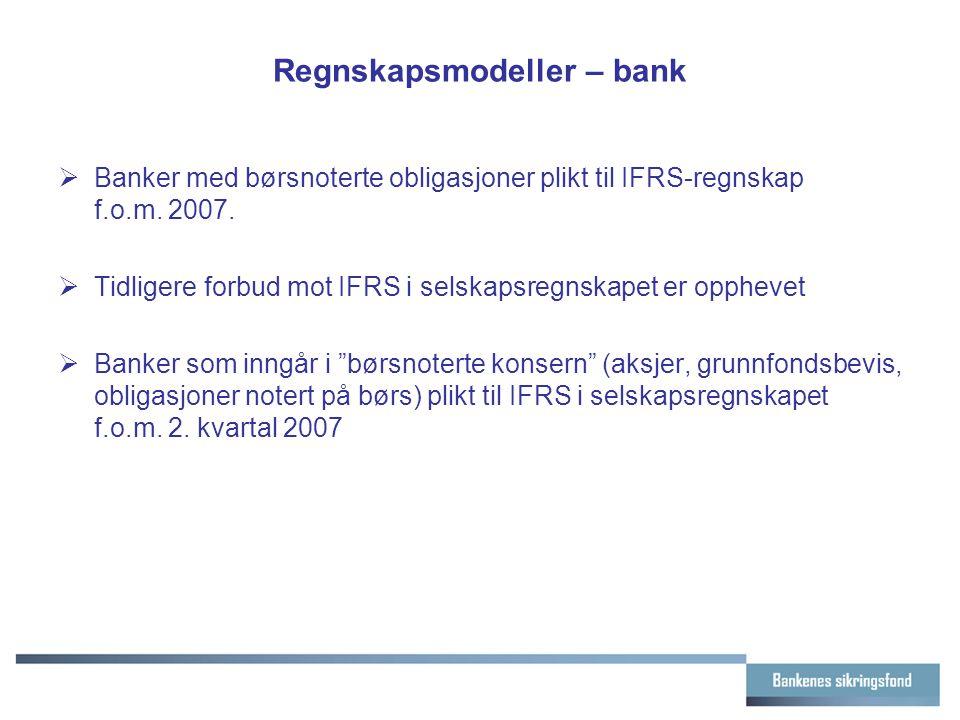 Regnskapsmodeller – bank  Banker med børsnoterte obligasjoner plikt til IFRS-regnskap f.o.m.