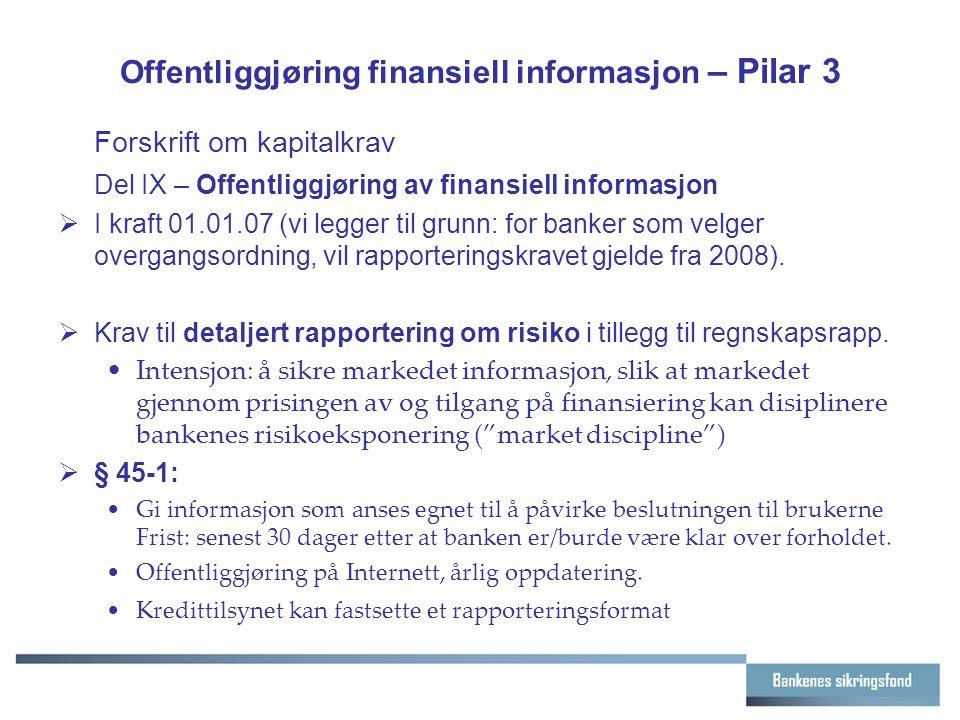 Offentliggjøring finansiell informasjon – Pilar 3 Forskrift om kapitalkrav Del IX – Offentliggjøring av finansiell informasjon  I kraft 01.01.07 (vi legger til grunn: for banker som velger overgangsordning, vil rapporteringskravet gjelde fra 2008).