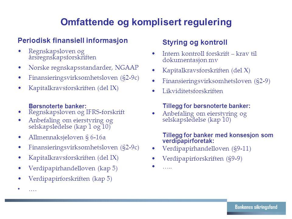 Omfattende og komplisert regulering Periodisk finansiell informasjon Regnskapsloven og årsregnskapsforskriften Norske regnskapsstandarder, NGAAP Finansieringsvirksomhetsloven (§2-9c) Kapitalkravsforskriften (del IX) Børsnoterte banker: Regnskapsloven og IFRS-forskrift Anbefaling om eierstyring og selskapsledelse (kap 1 og 10) Allmennaksjeloven § 6-16a Finansieringsvirksomhetsloven (§2-9c) Kapitalkravsforskriften (del IX) Verdipapirhandelloven (kap 5) Verdipapirforskriften (kap 5) ….