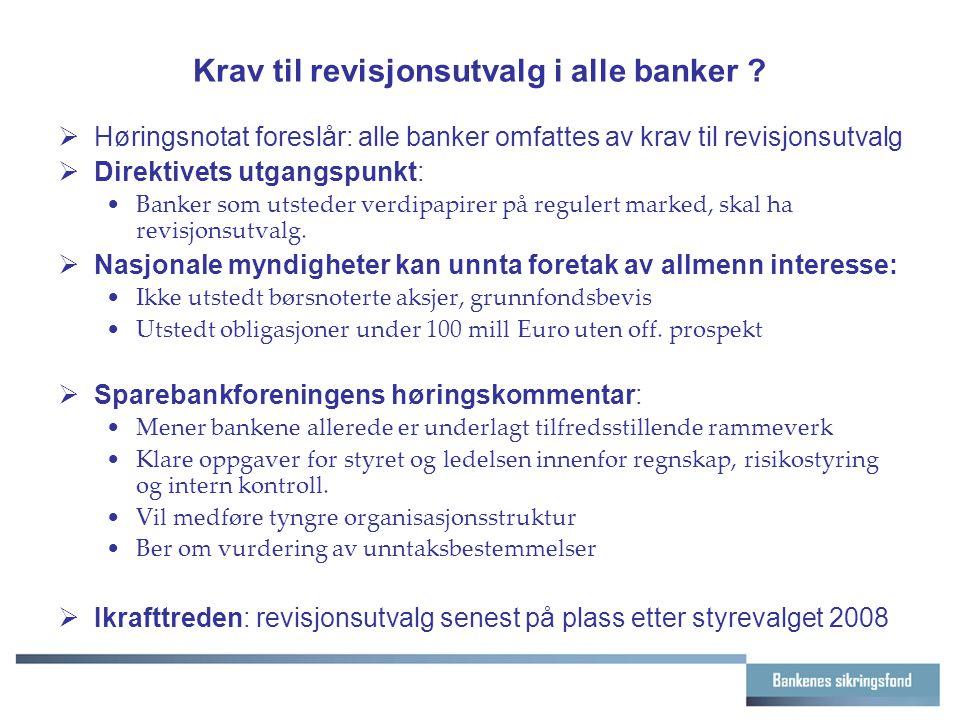 Krav til revisjonsutvalg i alle banker .