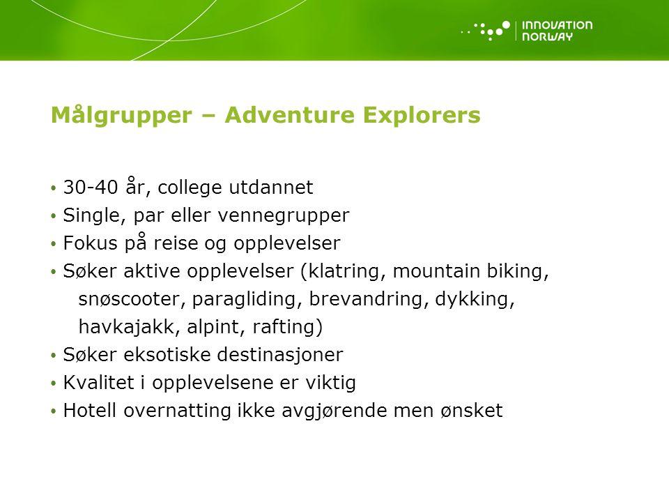 Målgrupper – Adventure Explorers 30-40 år, college utdannet Single, par eller vennegrupper Fokus på reise og opplevelser Søker aktive opplevelser (klatring, mountain biking, snøscooter, paragliding, brevandring, dykking, havkajakk, alpint, rafting) Søker eksotiske destinasjoner Kvalitet i opplevelsene er viktig Hotell overnatting ikke avgjørende men ønsket