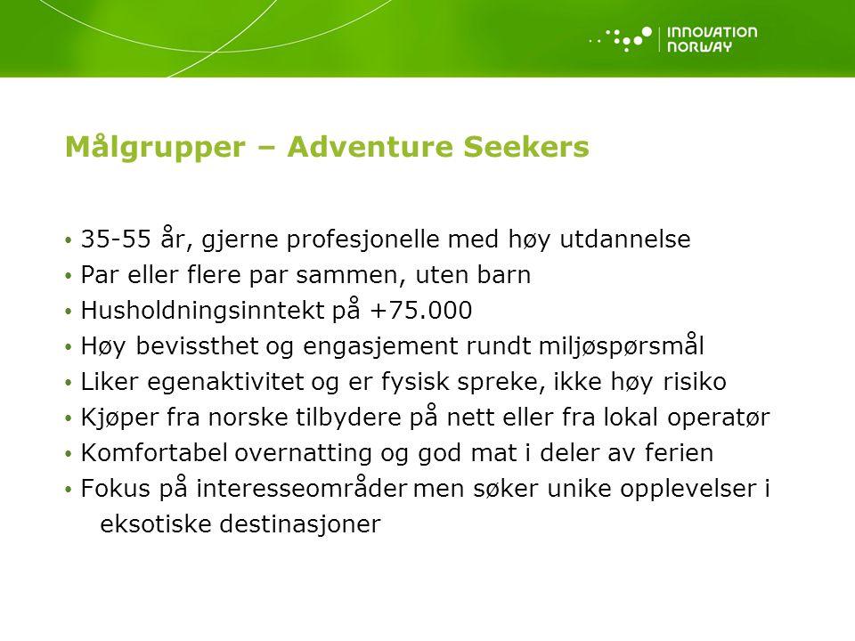 Målgrupper – Adventure Seekers 35-55 år, gjerne profesjonelle med høy utdannelse Par eller flere par sammen, uten barn Husholdningsinntekt på +75.000