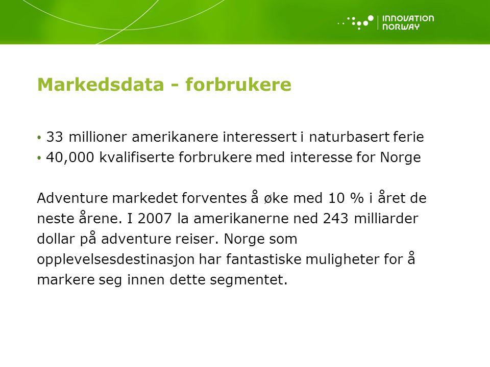 Markedsdata - forbrukere 33 millioner amerikanere interessert i naturbasert ferie 40,000 kvalifiserte forbrukere med interesse for Norge Adventure markedet forventes å øke med 10 % i året de neste årene.