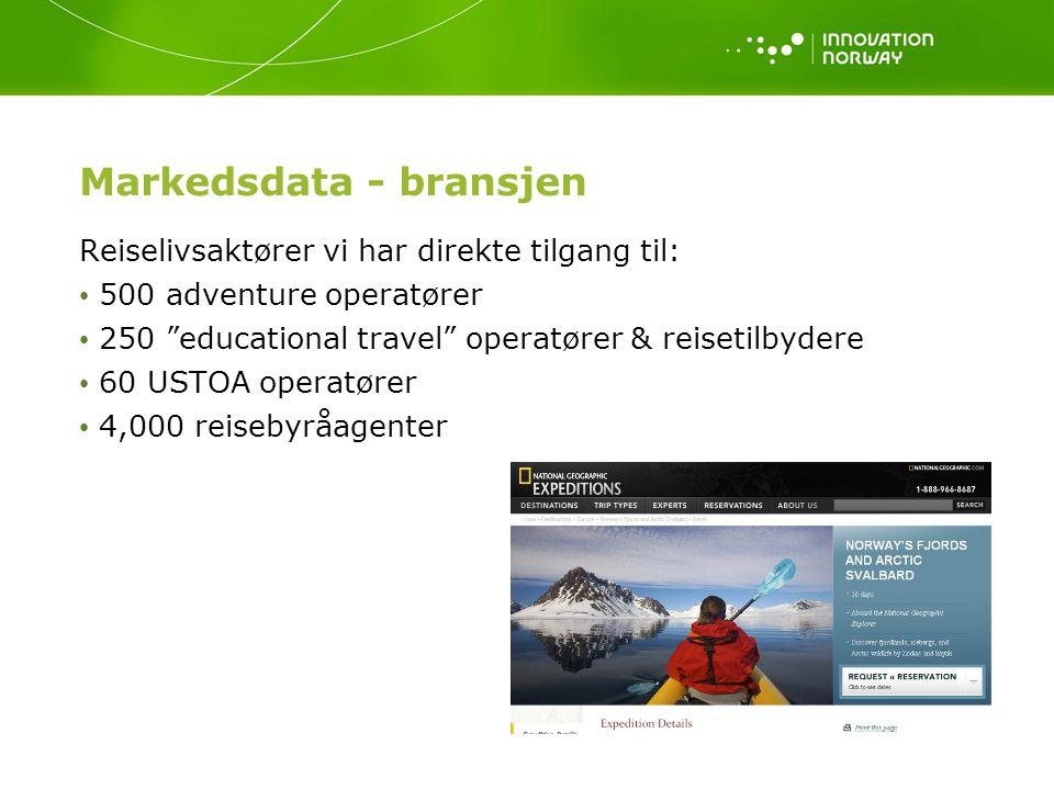 """Markedsdata - bransjen Reiselivsaktører vi har direkte tilgang til: 500 adventure operatører 250 """"educational travel"""" operatører & reisetilbydere 60 U"""