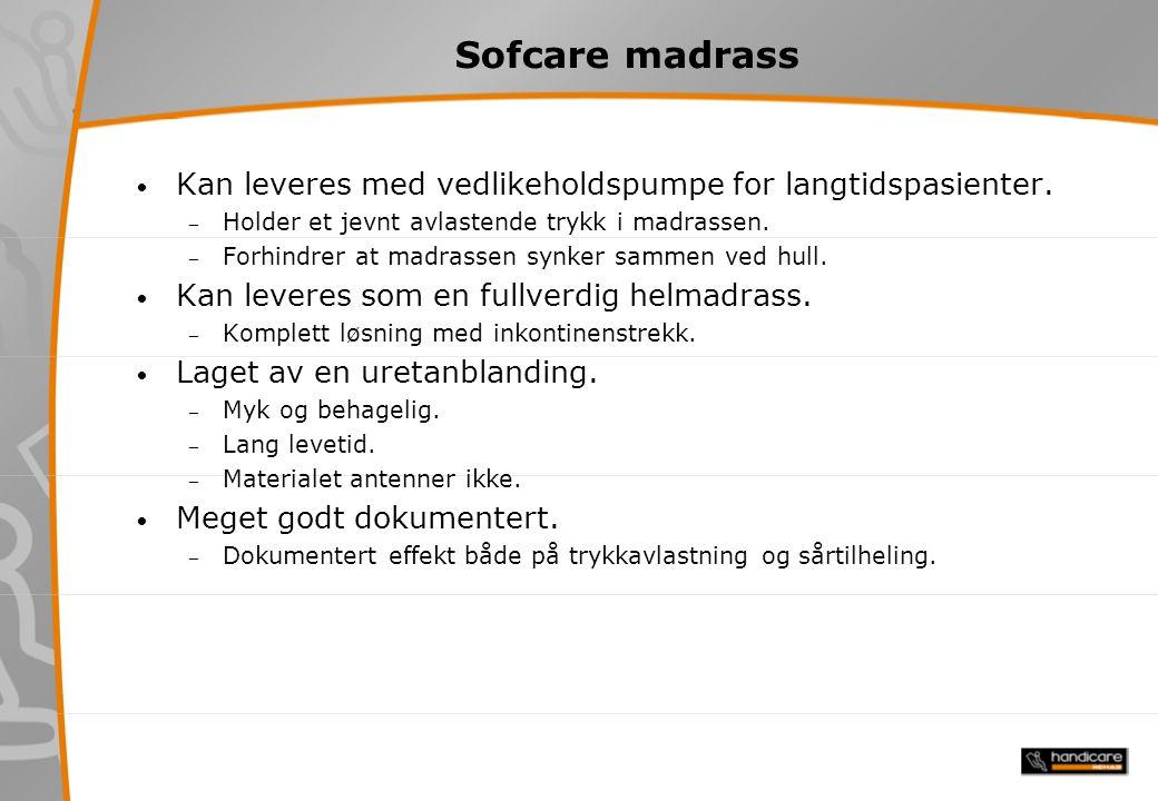 Sofcare madrass Kan leveres med vedlikeholdspumpe for langtidspasienter.