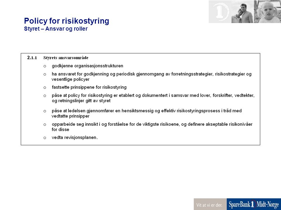Policy for risikostyring Styret – Ansvar og roller
