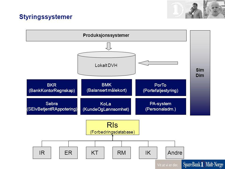 Styringssystemer BMK (Balansert målekort) BKR (BankKontorRegnskap) PorTo (Porteføljestyring) PA-system (Personaladm.) Sebra (SElvBetjentRAppotering) R