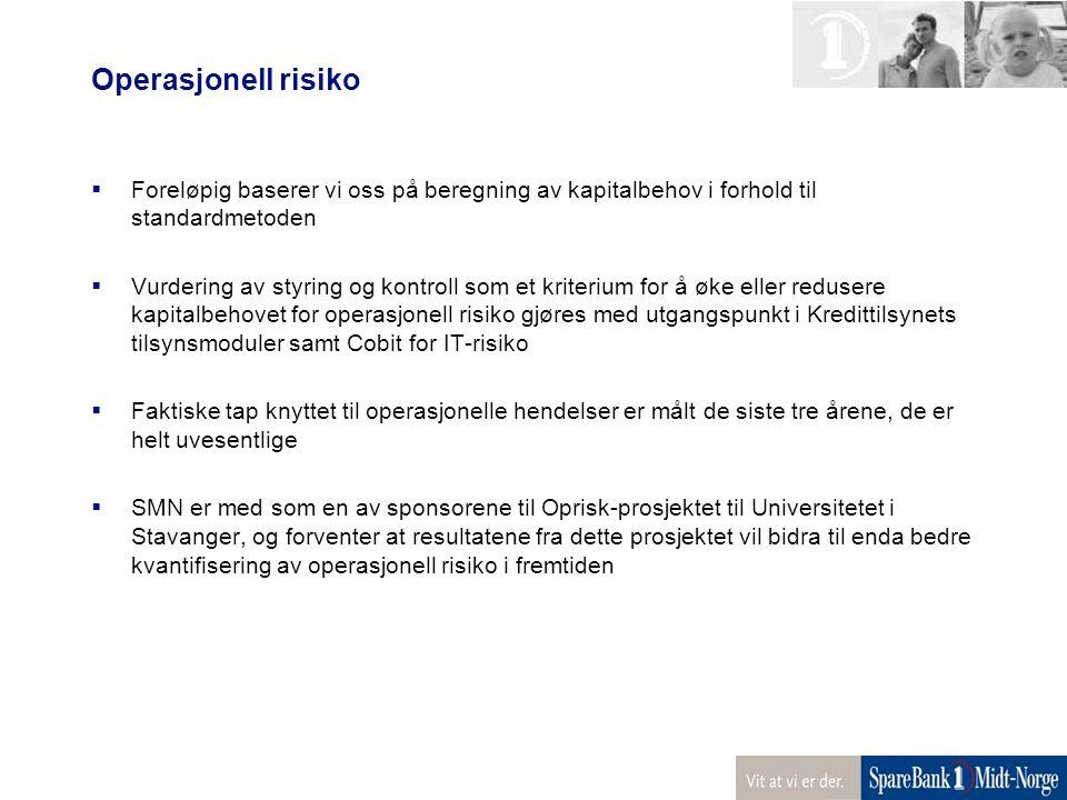 Operasjonell risiko  Foreløpig baserer vi oss på beregning av kapitalbehov i forhold til standardmetoden  Vurdering av styring og kontroll som et kr