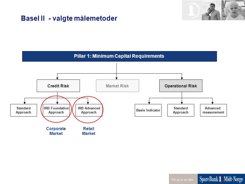 Pillar 1: Minimum Capital Requirements Credit RiskOperational Risk Standard Approach IRB Foundation Approach IRB Advanced Approach Basis Indicator Sta