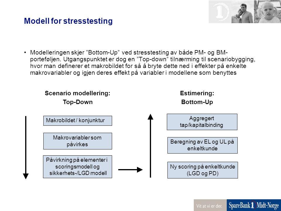 """Modell for stresstesting Modelleringen skjer """"Bottom-Up"""" ved stresstesting av både PM- og BM- porteføljen. Utgangspunktet er dog en """"Top-down"""" tilnærm"""