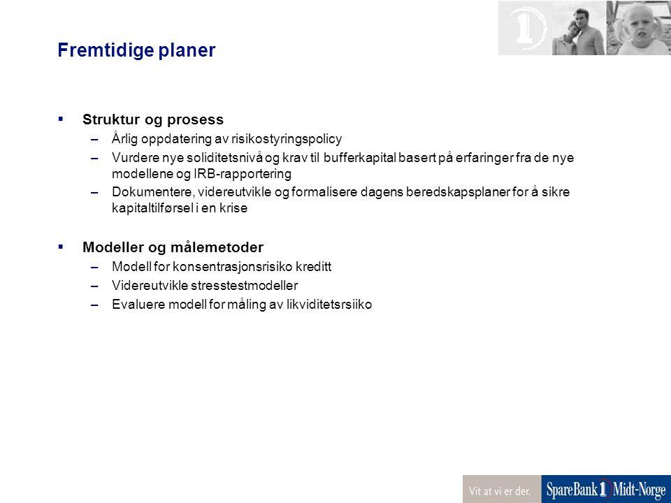 Fremtidige planer  Struktur og prosess –Årlig oppdatering av risikostyringspolicy –Vurdere nye soliditetsnivå og krav til bufferkapital basert på erf