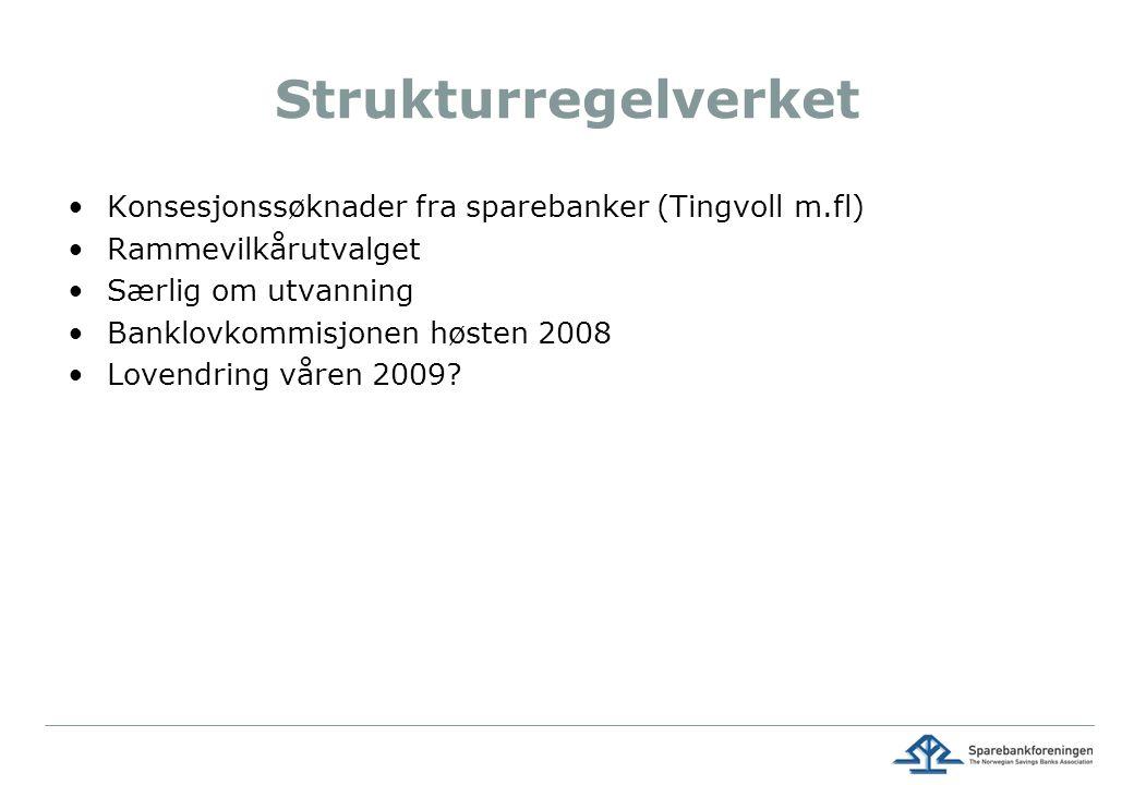 Strukturregelverket Konsesjonssøknader fra sparebanker (Tingvoll m.fl) Rammevilkårutvalget Særlig om utvanning Banklovkommisjonen høsten 2008 Lovendring våren 2009