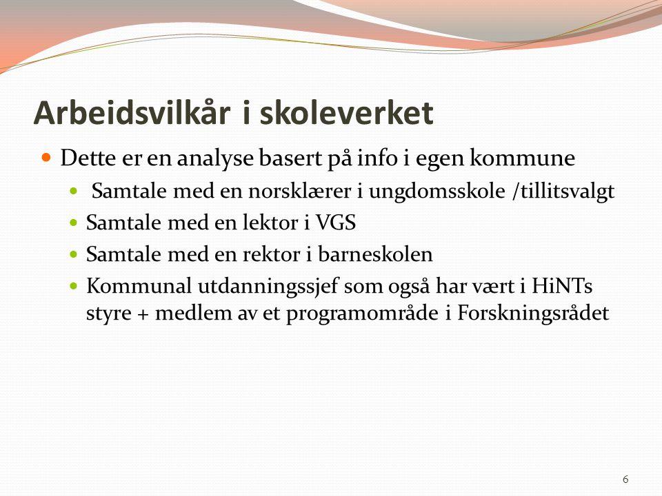 Arbeidsvilkår i skoleverket Dette er en analyse basert på info i egen kommune Samtale med en norsklærer i ungdomsskole /tillitsvalgt Samtale med en le