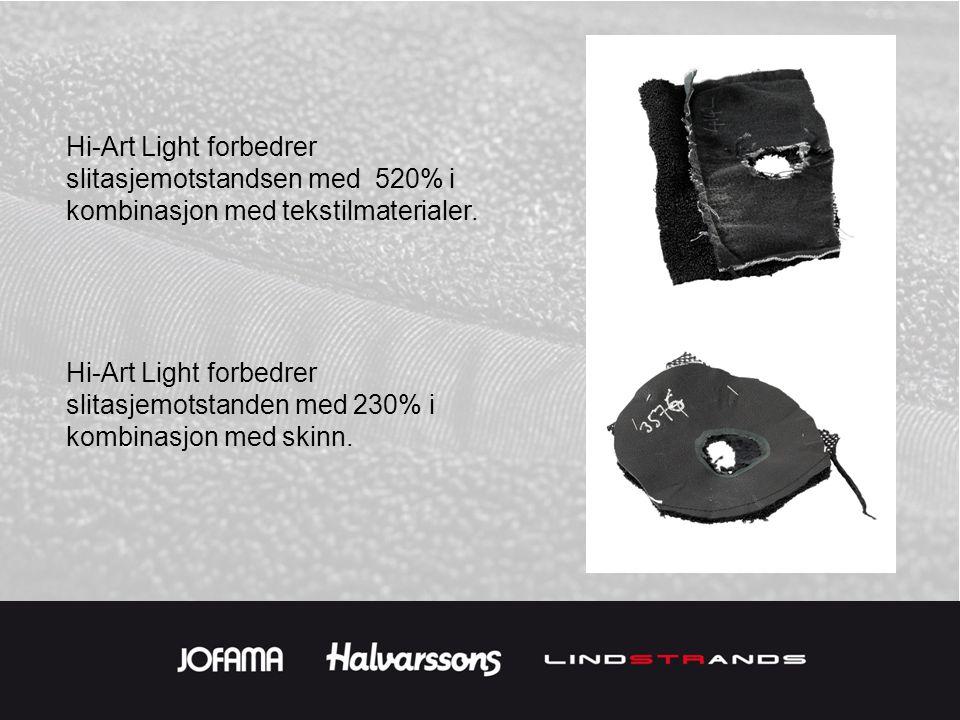 Hi-Art Light forbedrer slitasjemotstandsen med 520% i kombinasjon med tekstilmaterialer.