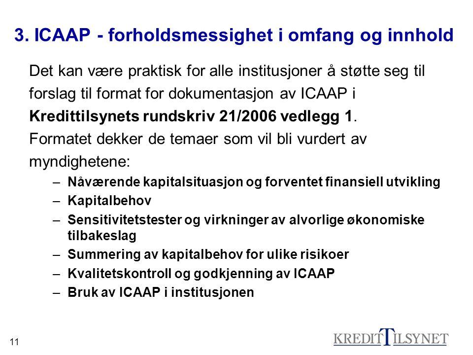 11 3. ICAAP - forholdsmessighet i omfang og innhold Det kan være praktisk for alle institusjoner å støtte seg til forslag til format for dokumentasjon