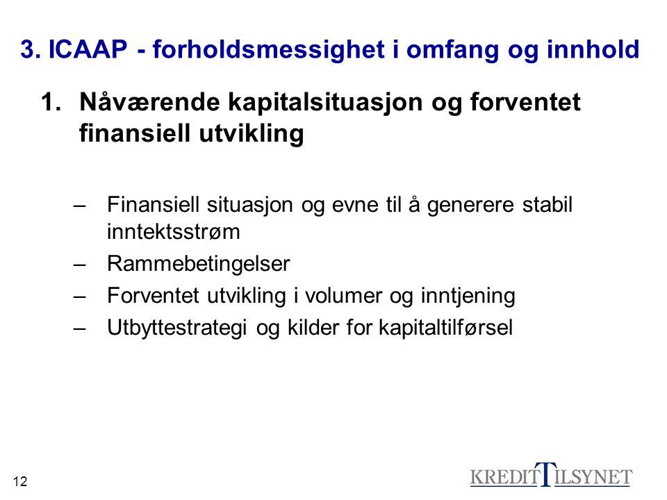 12 3. ICAAP - forholdsmessighet i omfang og innhold 1.Nåværende kapitalsituasjon og forventet finansiell utvikling –Finansiell situasjon og evne til å