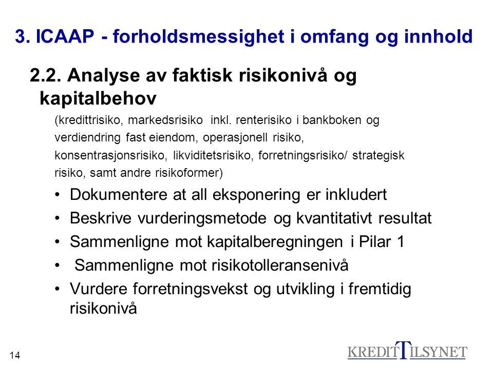 14 3. ICAAP - forholdsmessighet i omfang og innhold 2.2. Analyse av faktisk risikonivå og kapitalbehov (kredittrisiko, markedsrisiko inkl. renterisiko