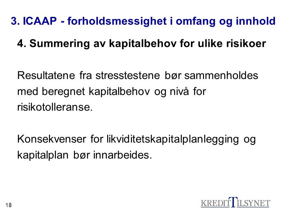 18 3. ICAAP - forholdsmessighet i omfang og innhold 4. Summering av kapitalbehov for ulike risikoer Resultatene fra stresstestene bør sammenholdes med