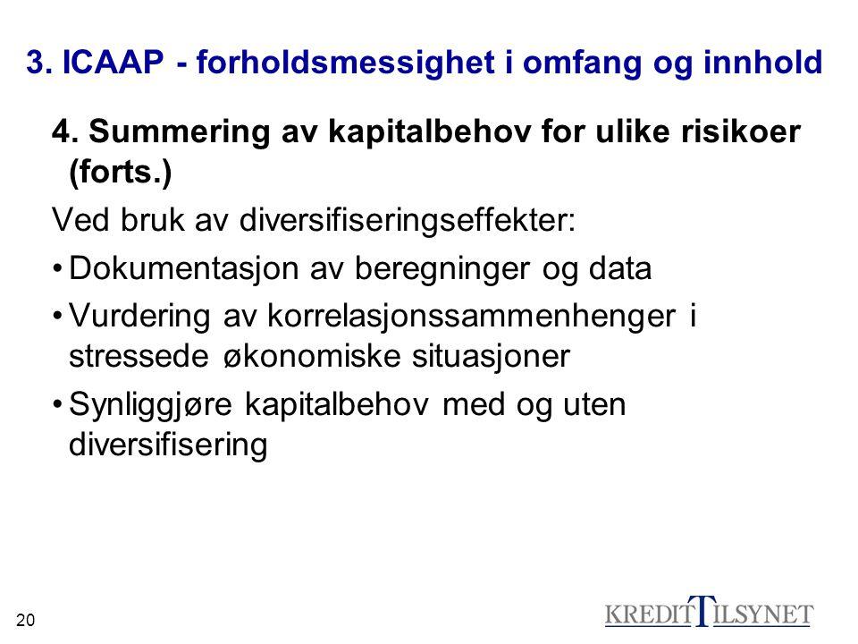 20 3. ICAAP - forholdsmessighet i omfang og innhold 4. Summering av kapitalbehov for ulike risikoer (forts.) Ved bruk av diversifiseringseffekter: Dok