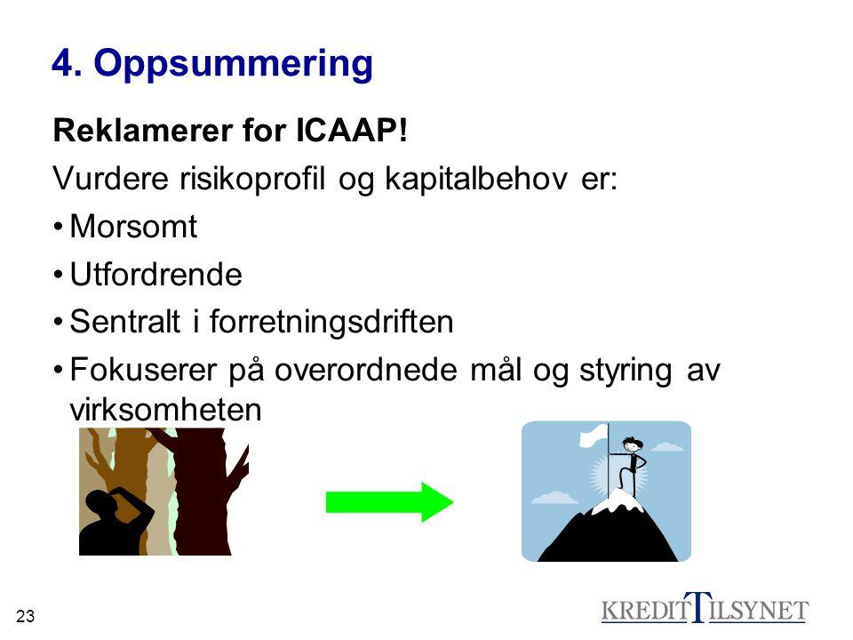 23 4. Oppsummering Reklamerer for ICAAP! Vurdere risikoprofil og kapitalbehov er: Morsomt Utfordrende Sentralt i forretningsdriften Fokuserer på overo