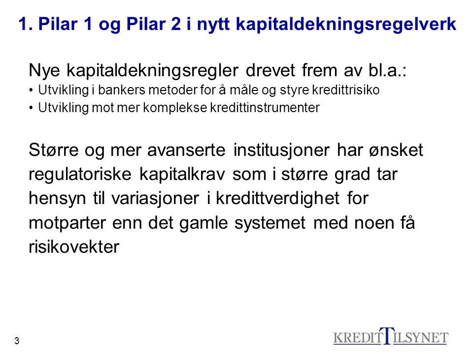 3 1. Pilar 1 og Pilar 2 i nytt kapitaldekningsregelverk Nye kapitaldekningsregler drevet frem av bl.a.: Utvikling i bankers metoder for å måle og styr