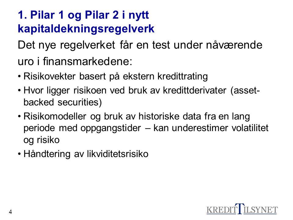 4 1. Pilar 1 og Pilar 2 i nytt kapitaldekningsregelverk Det nye regelverket får en test under nåværende uro i finansmarkedene: Risikovekter basert på