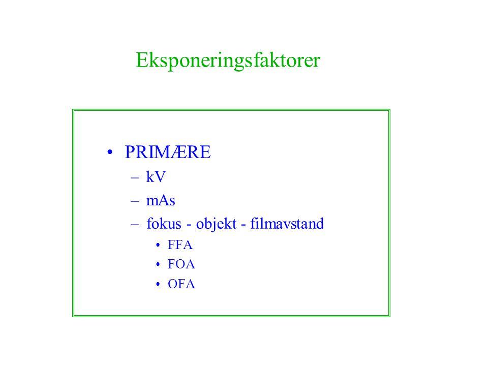 Eksponeringsfaktorer PRIMÆRE –kV –mAs –fokus - objekt - filmavstand FFA FOA OFA
