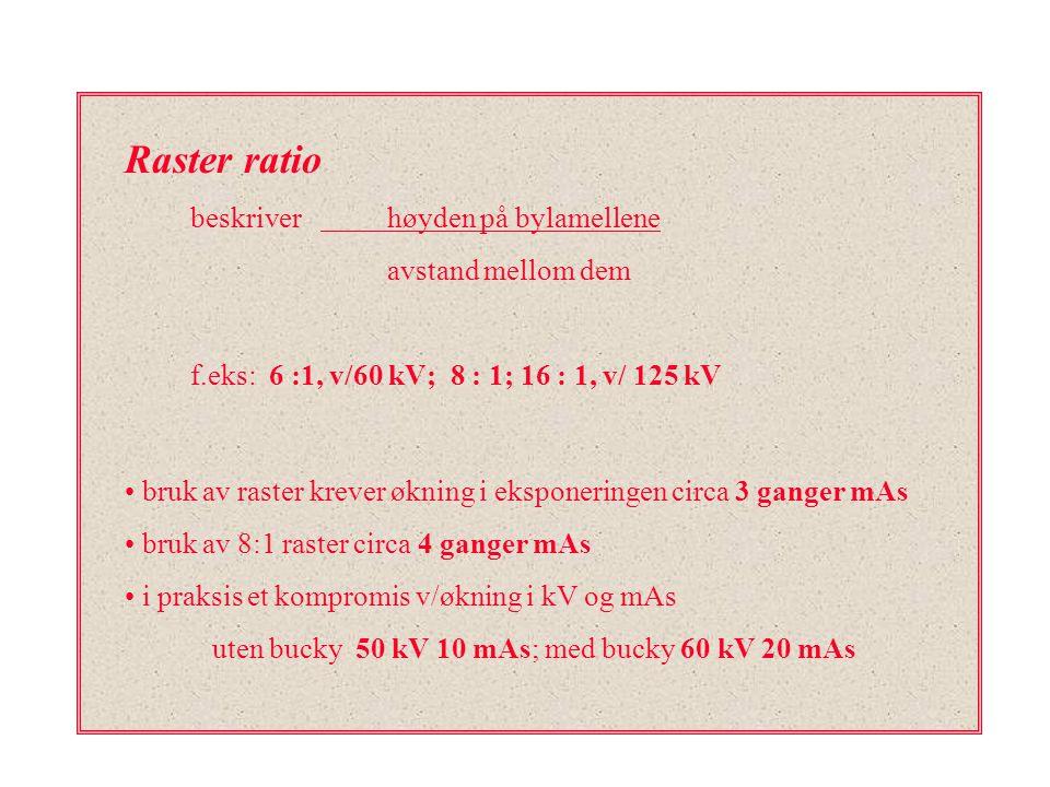 Raster ratio beskriver høyden på bylamellene avstand mellom dem f.eks: 6 :1, v/60 kV; 8 : 1; 16 : 1, v/ 125 kV bruk av raster krever økning i eksponer