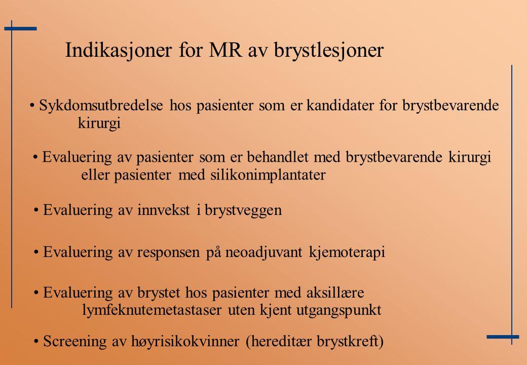 Indikasjoner for MR av brystlesjoner Sykdomsutbredelse hos pasienter som er kandidater for brystbevarende kirurgi Evaluering av pasienter som er behan