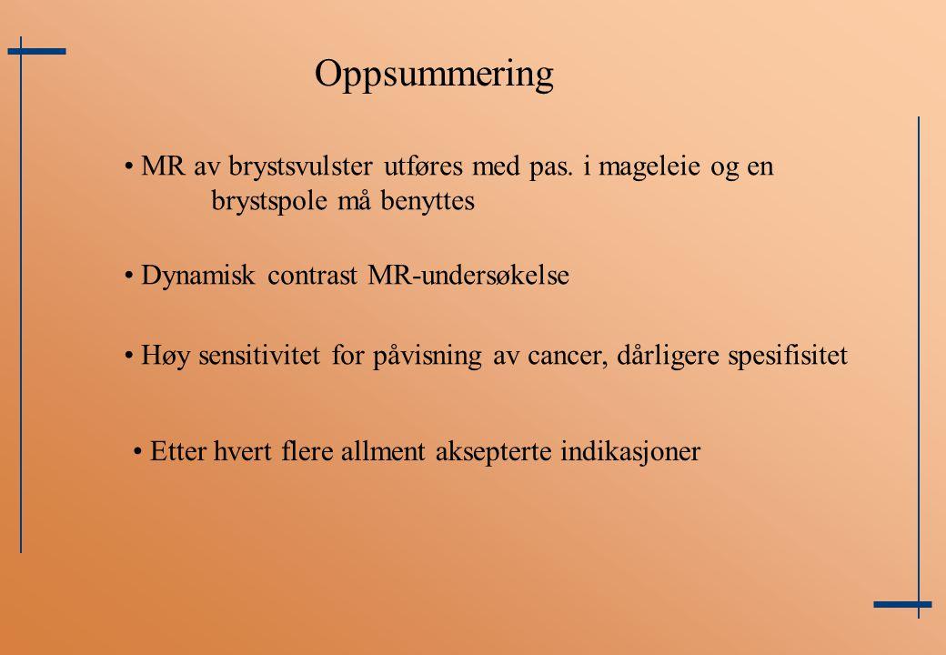 Oppsummering MR av brystsvulster utføres med pas. i mageleie og en brystspole må benyttes Dynamisk contrast MR-undersøkelse Høy sensitivitet for påvis