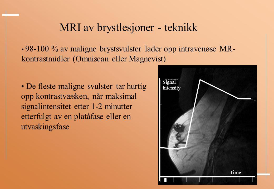 MRI av brystlesjoner - teknikk 98-100 % av maligne brystsvulster lader opp intravenøse MR- kontrastmidler (Omniscan eller Magnevist) De fleste maligne