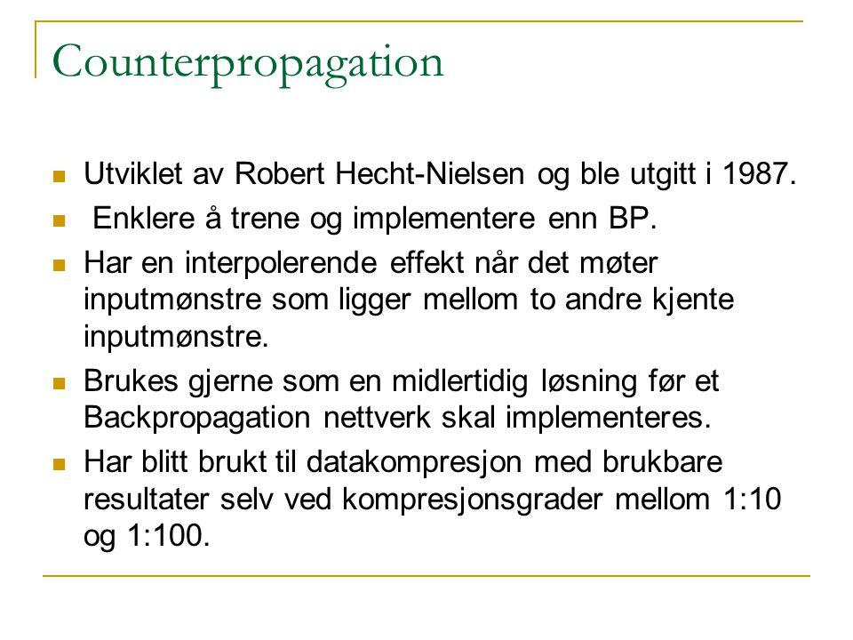 Counterpropagation Utviklet av Robert Hecht-Nielsen og ble utgitt i 1987.